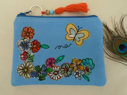 Handmade-Cosmetic-Makeup-Bag-Purse-Blue-Floral-Butterfly-Embroidery-Boho-gift