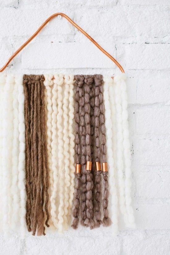 DIY wall hanging with copper + yarn
