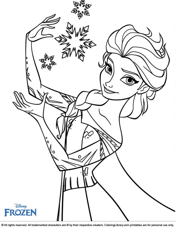 Elsa Frozen Coloring Page Elsa Coloring Pages, Snowflake Coloring Pages,  Princess Coloring Pages