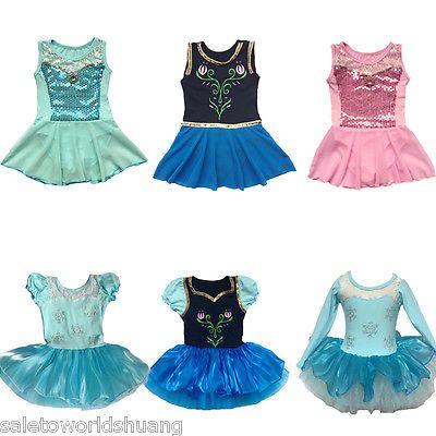 Girls Princess Ballet Tutu Party Dance Dress Frozen Elsa 2-8Y Kids Leotard Skirt