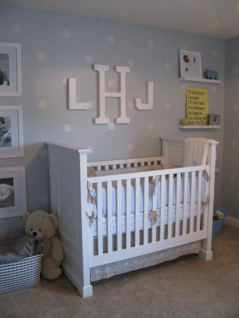 Love the polka dots shelving and monogram! Stealing this idea for next baby!:)