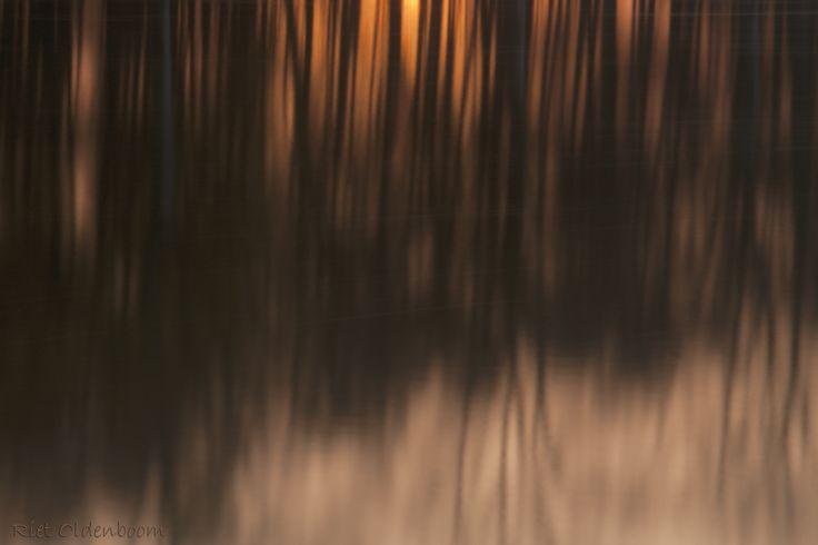 ondergaande zon gereflecteerd in het water van Bussloo