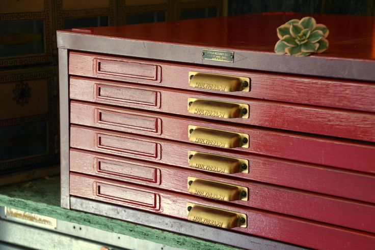 Vintage 6 Drawer Printers Type Cabinet: RED Steel & Wood Letterpress Divided Compartment Storage w/ Removable Typesetting Trays in Organizer by MerlesVintage on Etsy https://www.etsy.com/listing/245021693/vintage-6-drawer-printers-type-cabinet