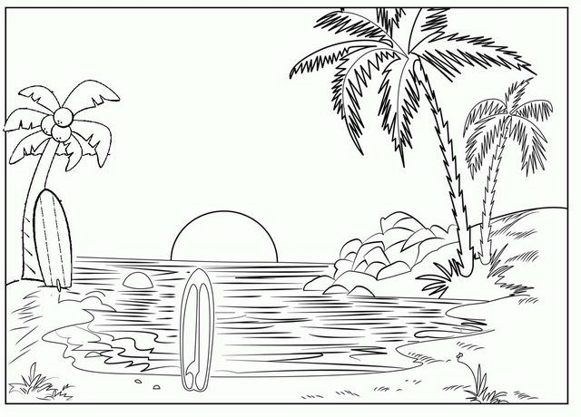 Sunset Beach Coloring Page