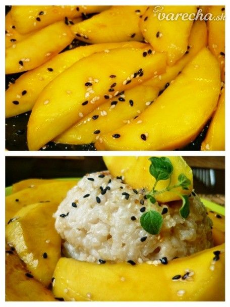 Mango na sladce mléčné kokosové rýži - Recept