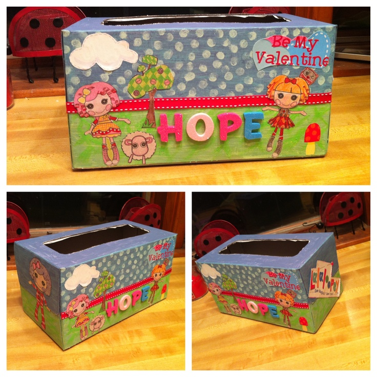 tissue kleenex box decorated for valentines day lalaloopsy