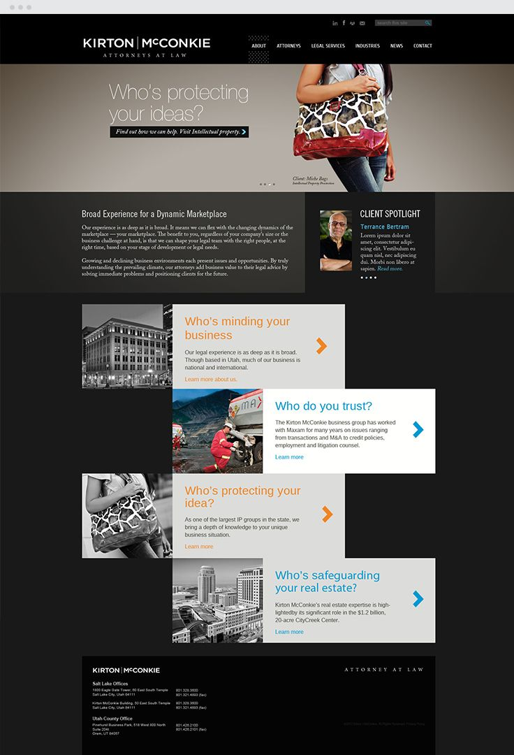 Kirton McKonkie Web Design #epicmarketing #marketing #webdesign #law #design #graphicdesign