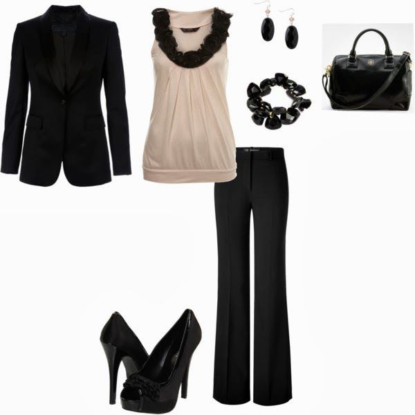 Fall Work Outfit With Black Coat,Handbag and Pumps