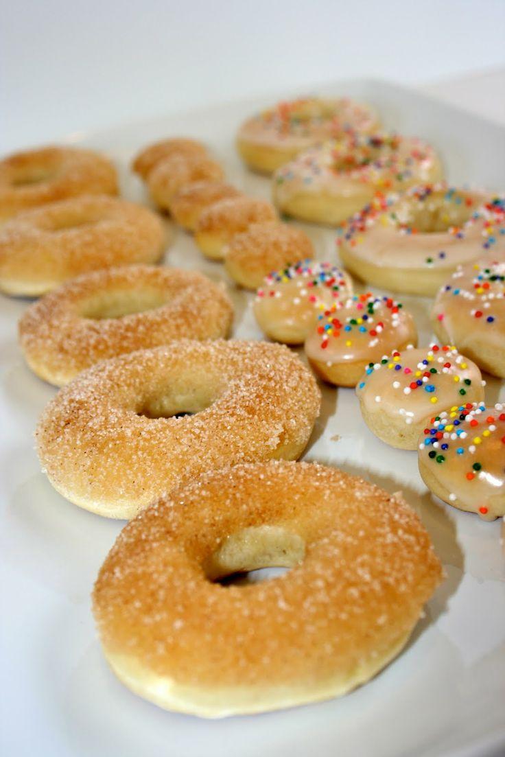 Baked Doughnuts: 3/4 c warm milk, 1 packet active dry yeast, 1 Tbsp unsalted butter, 1/3 c sugar, 1 egg, 2½ c all purpose flour, pinch of nutmeg, ½ tsp. salt