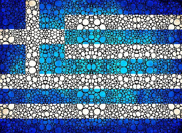 Greek Flag - Greece Stone Rock'd Art By Sharon Cummings