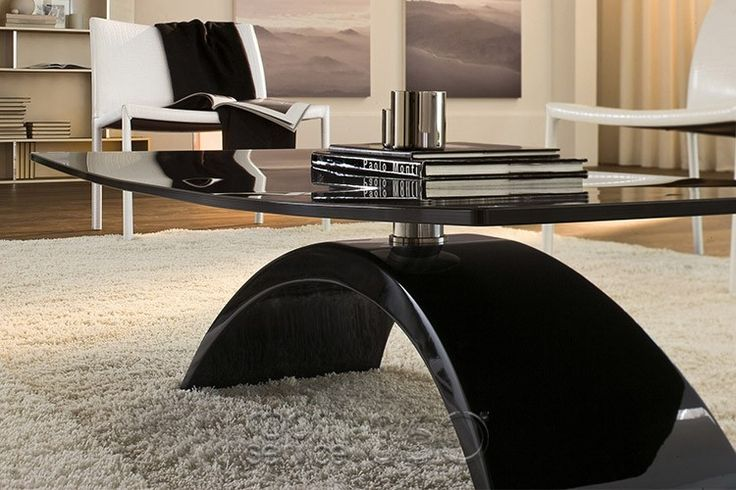 Tudor Coffee Table with Curved Rectangular Glass (black glass no longer available)