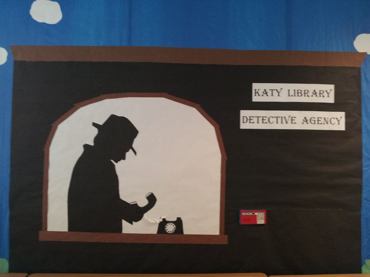 "Wall decor for the ""Get a Clue"" detective theme"