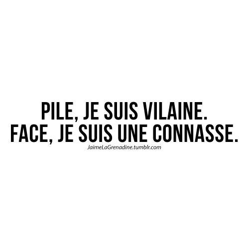 Pile, je suis vilaine. Face, je suis une connasse - #JaimeLaGrenadine #citation #punchline #vilaine #connasse