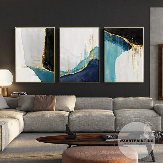 Set Of 3 Framed Wall Art Prints Modern Geometric Abstract Gold Navy Blue Black Print Painting Gold Art On Canvas Quadro Cuadros Abstractos Three Canvas Painting Modern Art Prints Wall Art Pictures