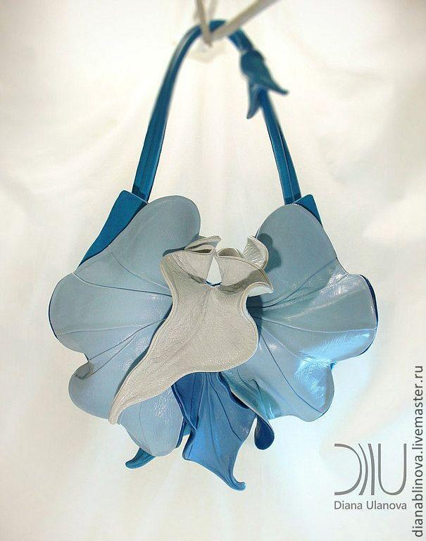 Купить Орхидея NEW голубая - голубой, орхидея, сумка кожаная, подарок женщине, кожа натуральная