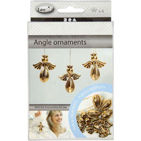 Engel ornamenten hoogte: 55 cm breedte: 45 cm 4 stuks goud