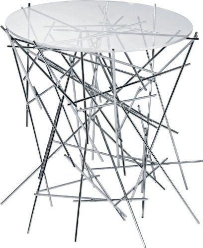 Alessi FC09 Tischlein Edelstahl mit Glasplatte, Höhe: 44 cm, Durchmesser: 45 cm
