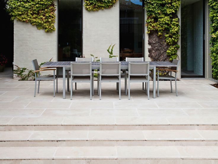 Eco Outdoor La Roche limestone paving in traditional style courtyard close up, Eckersley Garden Architecture. Eco Outdoor   livelifeoutdoors   La Roche limestone paving and tiles   Outdoor design   Garden design   Outdoor paving   Outdoor design inspiration   Outdoor style   Outdoor ideas   Garden ideas   Outdoor luxury   Natural stone flooring   Traditional courtyard ideas   Traditional garden ideas   Outdoor furniture   luxury outdoor furniture   Floor tiles   Outdoor tiles