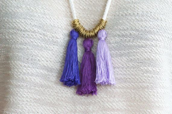 Rope Necklace, Tassel Necklace,Statement Necklace,Nautical Rope,Nautical Jewelry,Tassel Jewelry,Ombre Necklace,Ombre Tassels,Purple Necklace