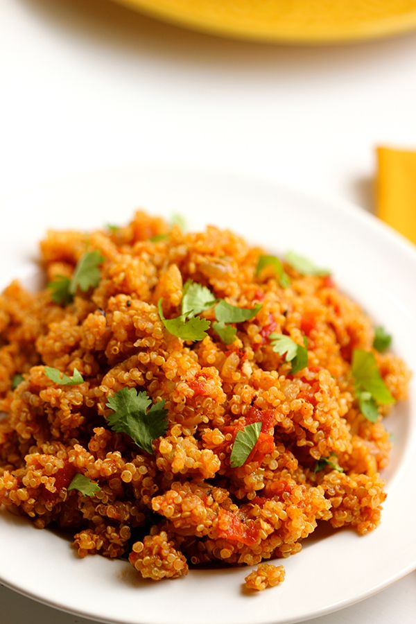 This Mexican quinoa dish can be used as a substitute for rice in burritos, tacos, flautas, or as a side.  #quinoa #Mexican