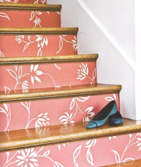 Wallpaper on Stair Risers--I love this idea, especially as you can change the colors and patterns depending on your re-decorating ideas...