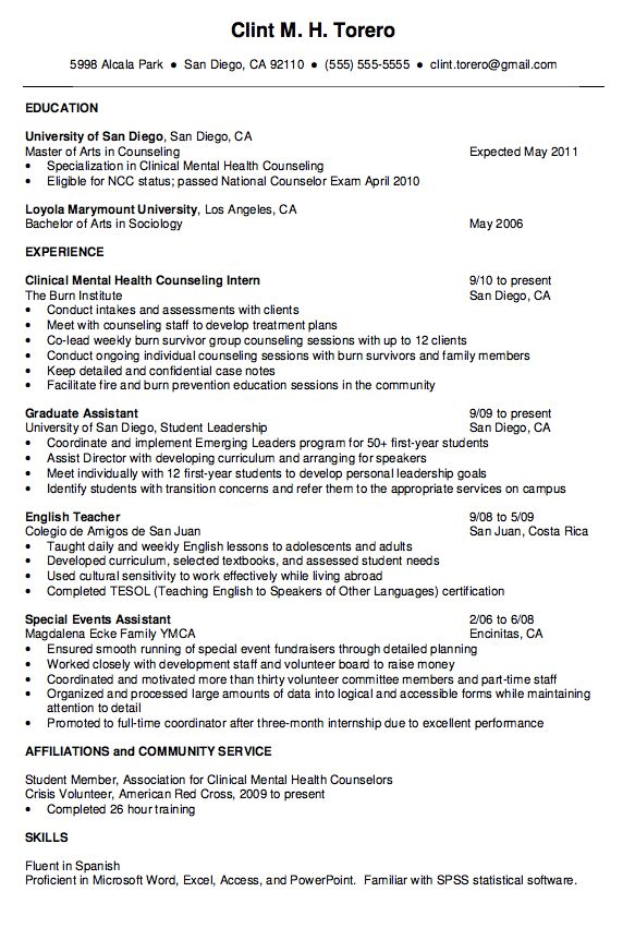 mental health counselor resume    exampleresumecv