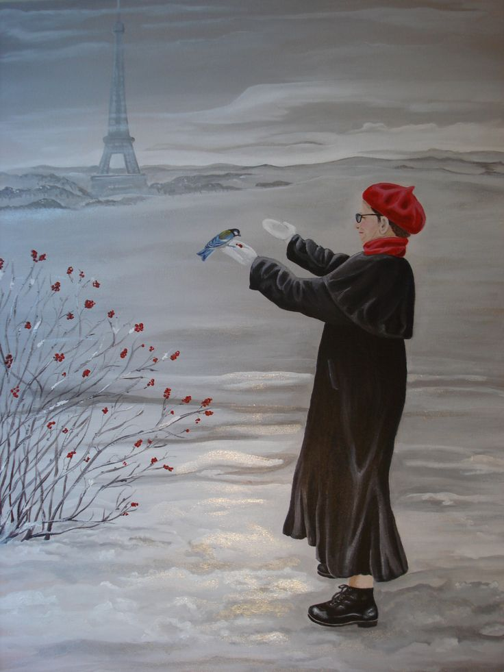 """SOLD """"Fowl Weather Friends"""". 20"""" x 24"""" acrylic, based on a photo my sister took while staying in Paris. Painted by Pauline Dueck"""