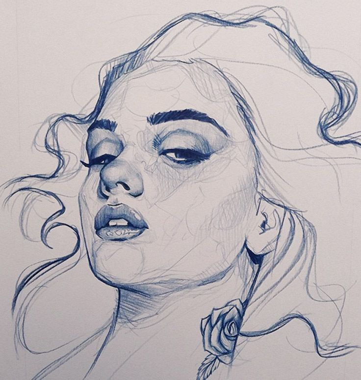 Richard Salcido, beautiful female portrait sketch