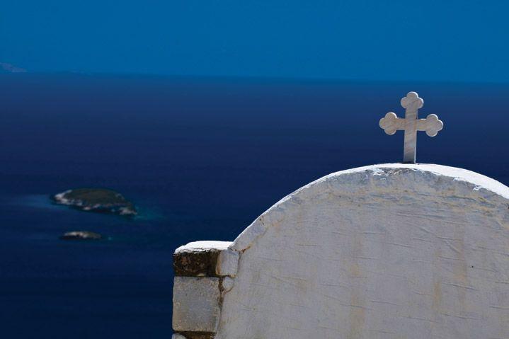 Church, amazing sea view. Paros Greece, Cyclades