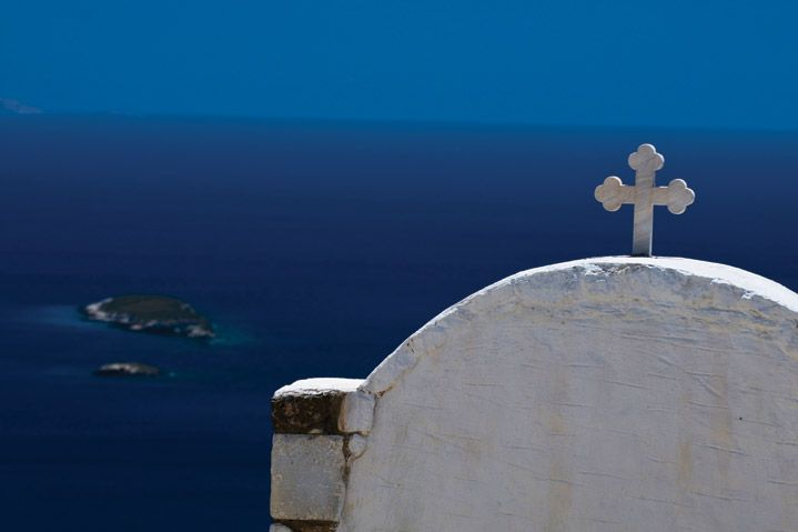 Church, amazing sea view. Paros Greece, Cyclades