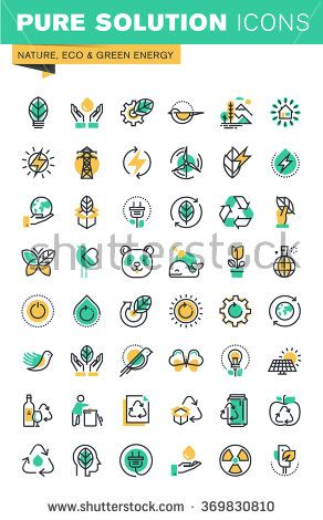 Modern thin line icons set of ecology, sustainable technology, renewable energy, recycling, nature, protection of flora and fauna. Outline icon collection for website and app design.