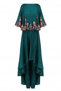 Teal Green Resham Work Kurta with Attached Crop Top and Pants