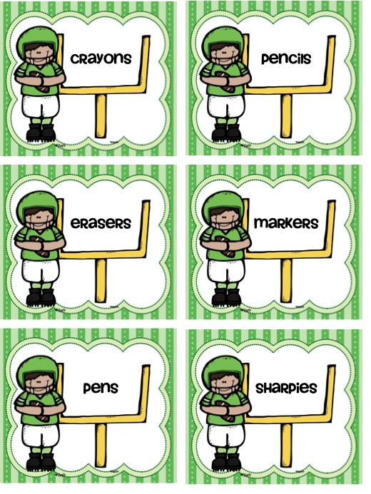 Editable supply and math manipulative labels that are perfect for a sports or team themed classroom!