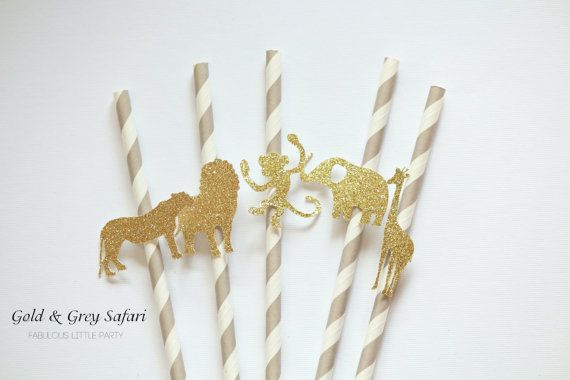 SET of 20 glitter Safari party straws (striped) Baby shower/First 1st birthday party/Safari zoo lion elephant party decor Gold/black/mint