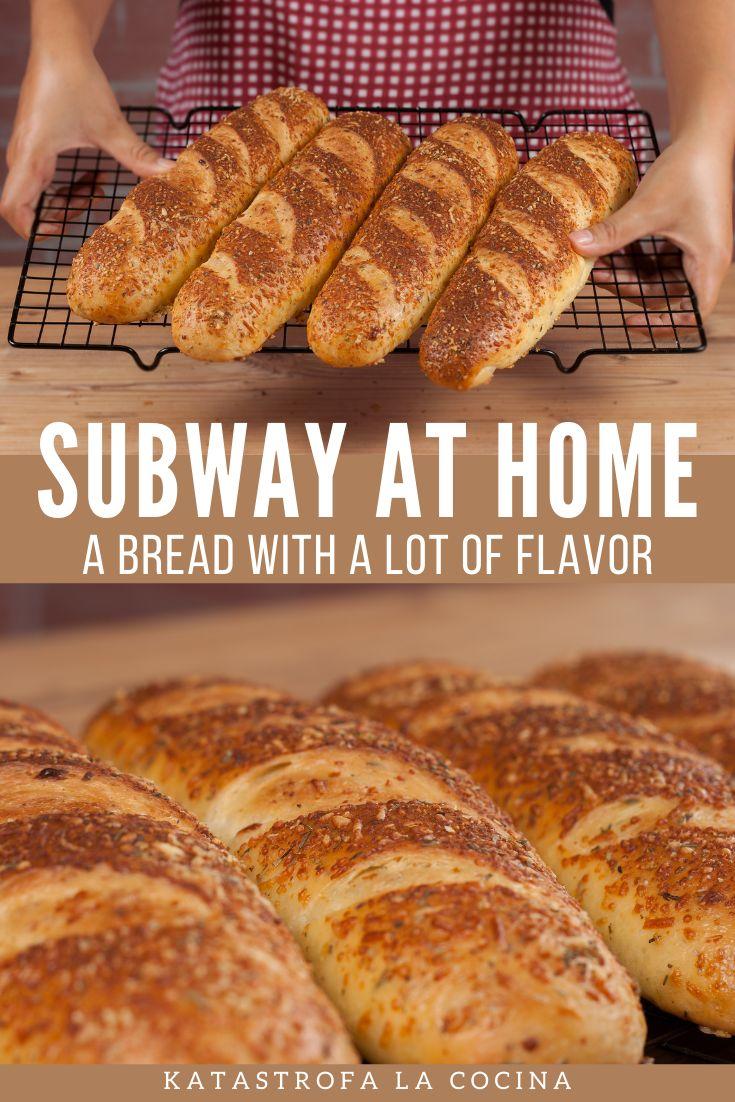 A bread with a lot of flavor. #Subway #SubwayBread #Homemade #Bread #recipe #bake #baking #BreadRecipe #KatastrofaLaCocina Subway Bread, Panini Bread, Bread Recipes, French Toast, Sandwiches, Bakery, Banana, Homemade, Breakfast