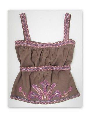 Bawełniany haftowany top boho folk r. S