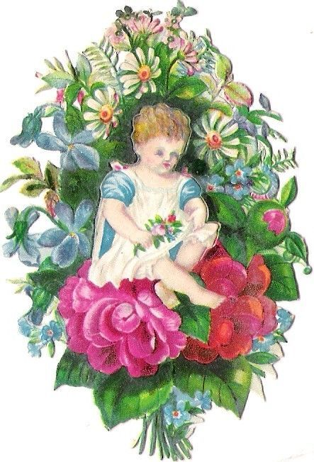 Oblaten Glanzbild scrap die cut chromo Kind child Blume flower klappbar