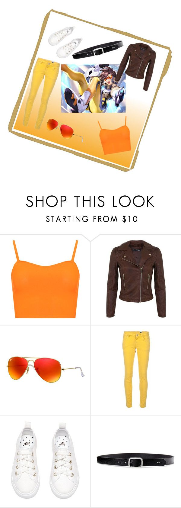 """""""Tracer Inspired Outfit"""" by dovepool ❤ liked on Polyvore featuring WearAll, Miss Selfridge, Ray-Ban, M Missoni, Lauren Ralph Lauren and Overwatch"""