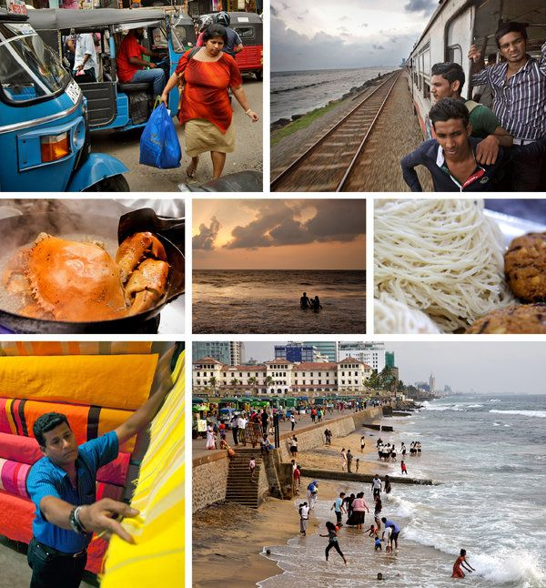 "36 Hour in Colombo, Sri Lanka. Clockwise from top left: Pettah, Colombo's main market; a train ride along the Indian Ocean; ""string hoppers""; beach at Galle Face Green; colorful textiles at Barefoot; the Ministry of Crab. Center: sunset in Mount Lavinia.  Photo: Kuni Takahashi for The New York Times"