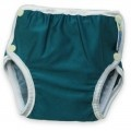 Baby bathers with booey catcher. Poppers make for quick removal without dragging wet clothes over wriggling legs.