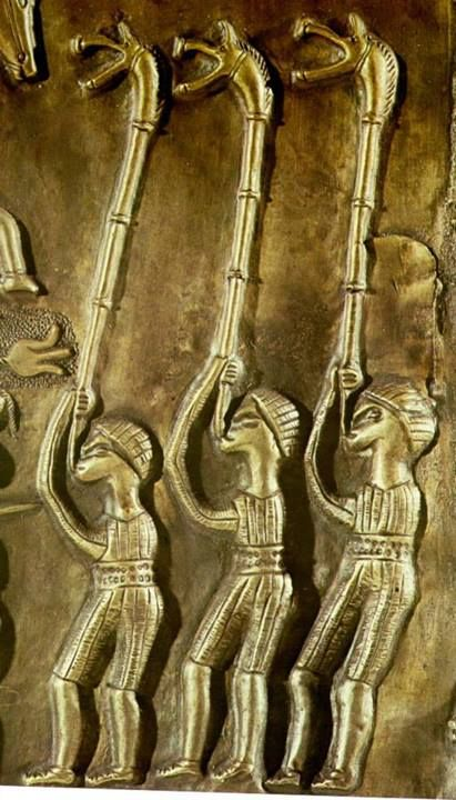 Celtic: The carnyx was an ancient #Celtic war-trumpet. These things make the strangest noises meant to scare off the enemy noises from the underworld, in large numbers they were effective.