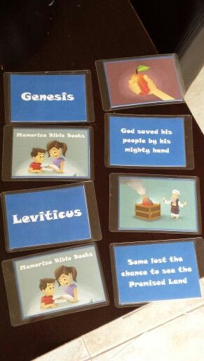 DIY Memorize Bible Books Game. The name of the books have the pic of Caleb & sophia on the back.  And the corresponding pictures have the description on the back.  So you can customize the matching game for younger kids to use the pics and older kids that can read can match the descriptions to the books.