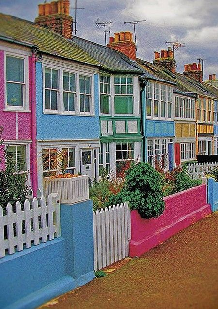 Colorful cottages in Whitstable, Kent, England • photo: steffanmacmillan on Flickr