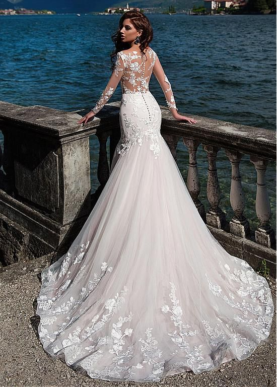 [256.00] Fascinating Tulle Bateau Neckline See-through Bodice Mermaid Wedding Dress With Lace Appliques & Beadings