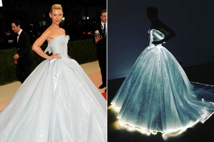 """The """"Homeland"""" star arrived at the annual Met Museum benefit decked out like an intergalactic Cinderella in an ice-blue Zac Posen gown that glowed in the dark."""