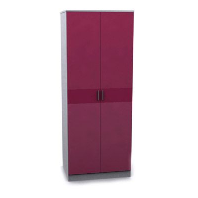 Alina Pink/White High Gloss 2 Door Wardrobe