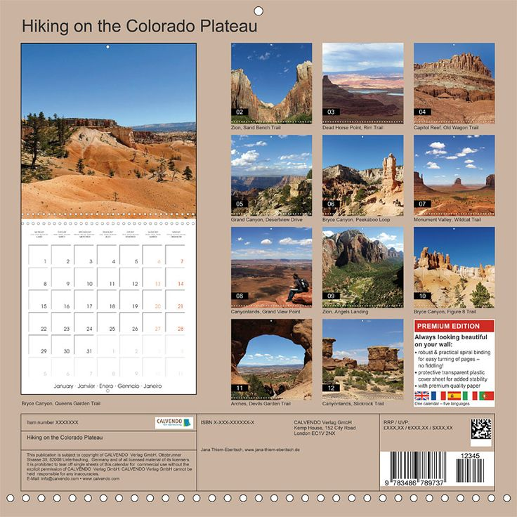 "Reisekalender mit Planer ""Hiking on the Colorado Plateau"", Index"