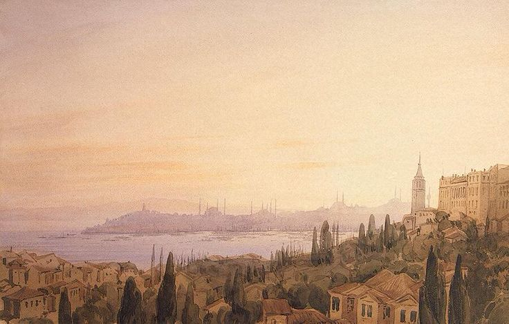 Büyükdere'den Istanbul'a bakış  (Istanbul)  | Joseph Fricero | 1830 #OrientExpress