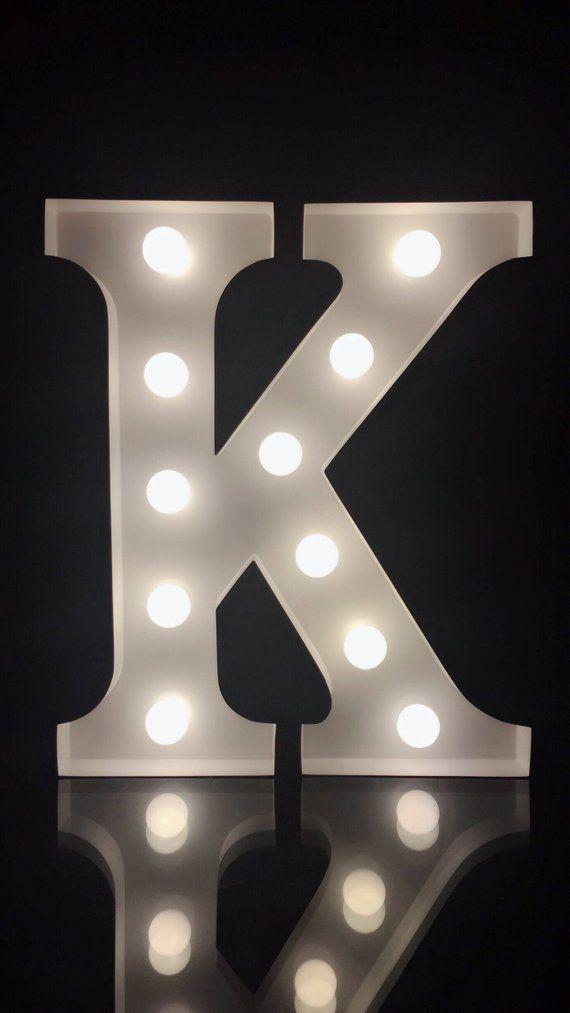 Metal White Letter K Marquee Letter Light 9height Light Etsy In 2020 Light Letters Lighted Marquee Letters Light Up Letters