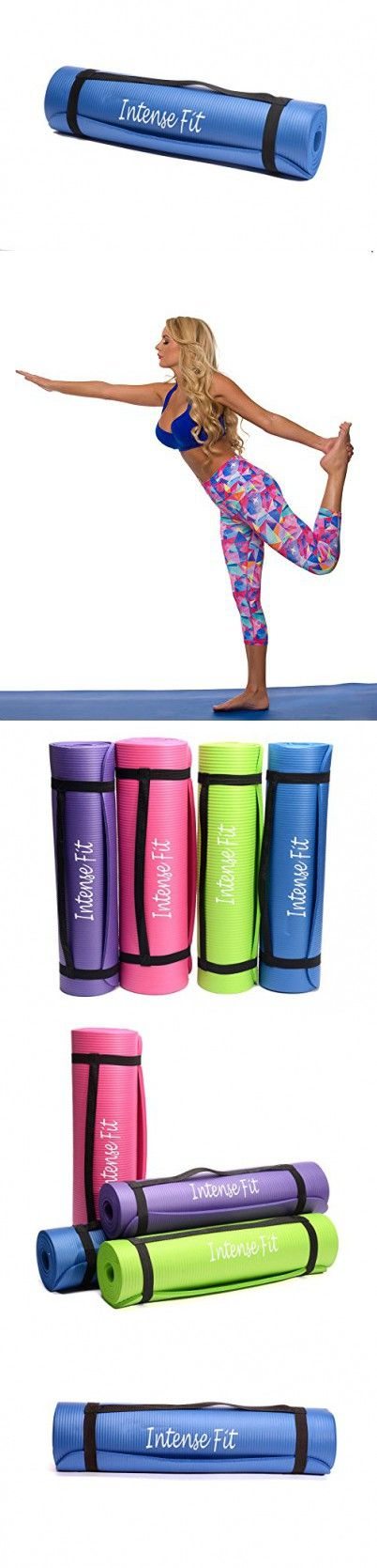 Intense Fit Multi-Purpose 3/8-Inch Thick 71-Inch Long 24-Inch Wide Anti-Tear Non-Slip NBR Comfort Foam Yoga Pilates Mat with Carrying Strap - 4 Colors (Blue)